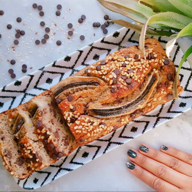 banana bread à la pistache et noix de cajou aux chocolat
